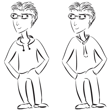 Young casual and formal male character sketch  Vector