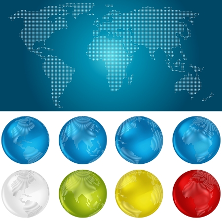Dotted World Map and Globes Stock Vector - 18290323
