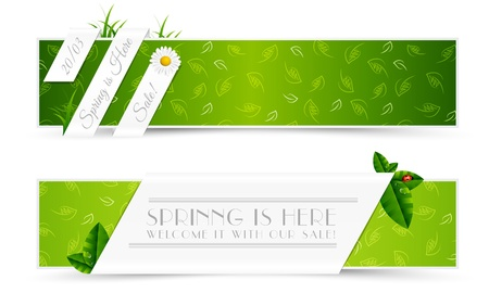 Set of Natural Spring Banners Illustration