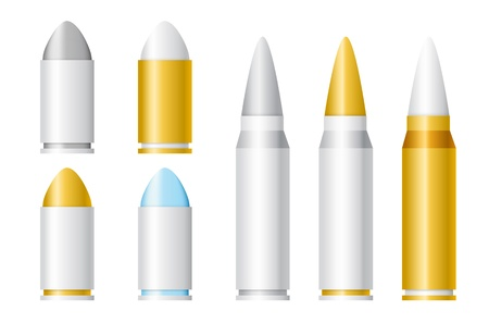 Set of Vector Cartoon Bullets of Different Sizes Illustration
