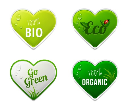 Set of bio, eco, organic heart sticker elements Illustration