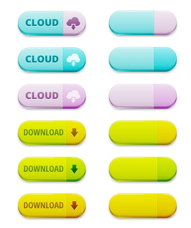Set of colorful download and cloud computing buttons Illustration