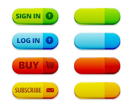 Set of colorful log in, sign in and subscription buttons