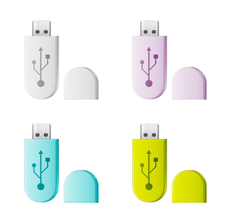 Set of colorful isolated USB Flash Drive