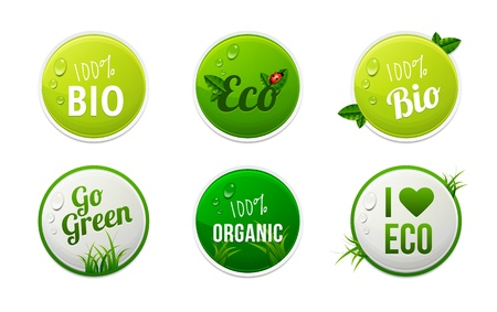 Set of bio, eco, organic sticker elements