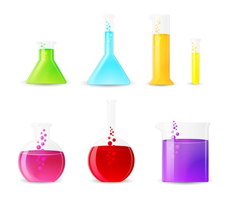 Chemical Glassware with Colorful Fluids