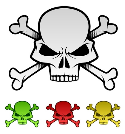 Evil Skulls Colorful Illustration Set  Illustration