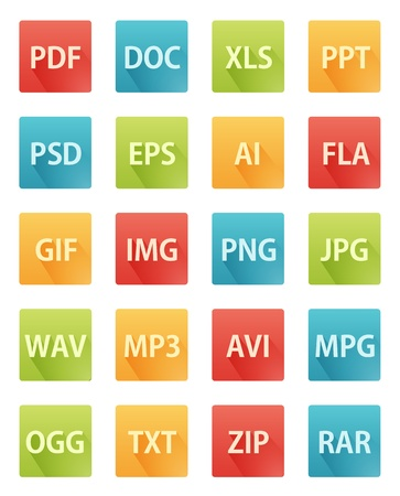 Long Shadow Flat Format Icons Vector
