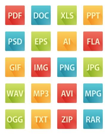 txt: Long Shadow Flat Format Icons