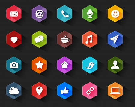 Flat Social Media Icons for Dark Background in Long Shadow Style