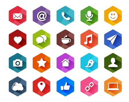 web mail: Flat Social Media Icons for Light Background in Long Shadow Style
