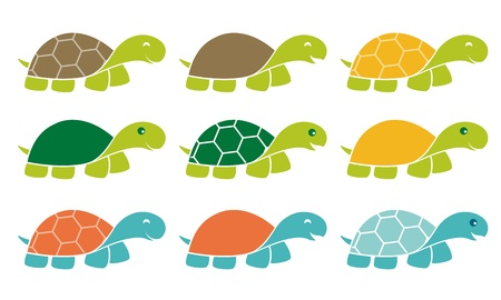 children turtle: Smiling Happy Turtle Icon  Set in Cartoon Style