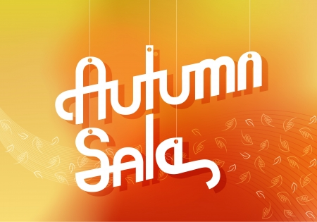 Elegant Retro Autumn Sale Advertising Banner with Blurred Background