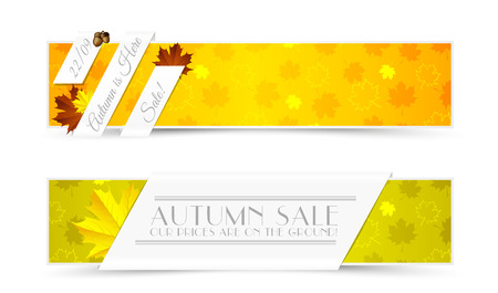 Set of Autumn Promotional Banners with Seamless Pattern