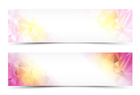 pink banner: Polygon Abstract Banner Set or Website Header