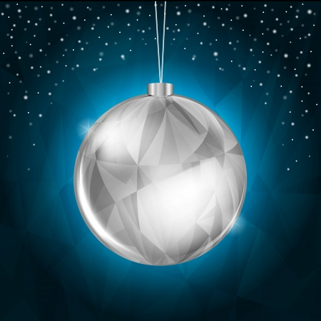 Blue Christmas Background with Hanging Silver Decoration Illustration