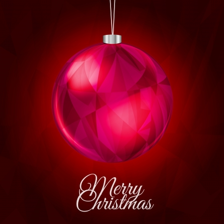 Red Christmas Background with Hanging Shiny Ball Decoration