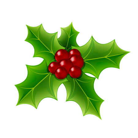 Christmas Holly Berry and Leaves