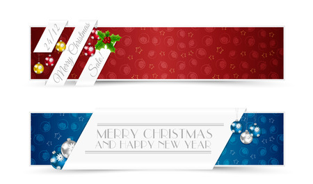 Set of Christmas Banners with Decorative Elements