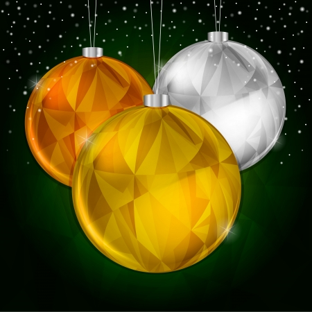 Gold Christmas Background with Hanging Silver and Gold Decoration Illustration