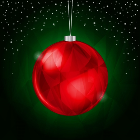 Green Christmas Background with Hanging Red Decoration Illustration
