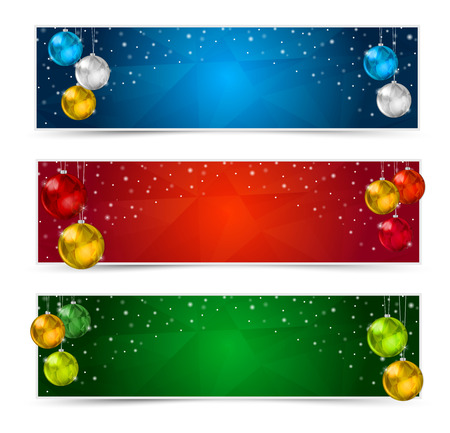 Set of Colorful Horizontal Polygon Christmas Banners