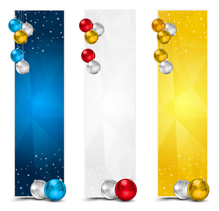 Set of Colorful Vertical Polygon Christmas Banners