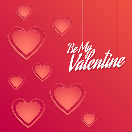 Valentine Background with Hearts Decorations in Red Illustration