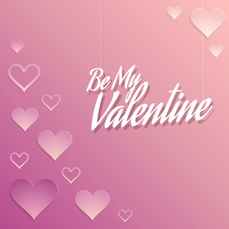 Valentine Background with Hearts Decorations in Pink