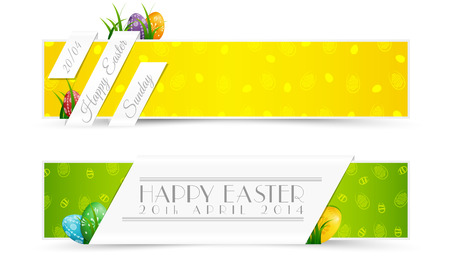 Set of Easter Holiday Banners with Colored Eggs and Grass