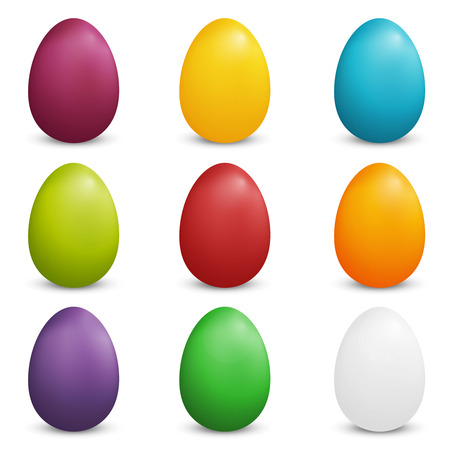 easter sunday: Set of Plain Colored Easter Eggs