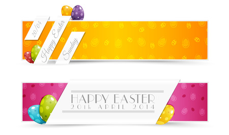 Set of Easter Holiday Banners with Colored Dinosaur Eggs