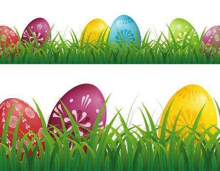 Easter Eggs Hunt Background with grass Vector