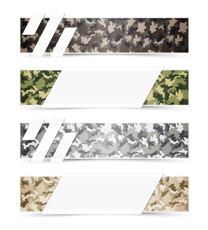 Set of Camouflage Web Banners with White Space Illustration