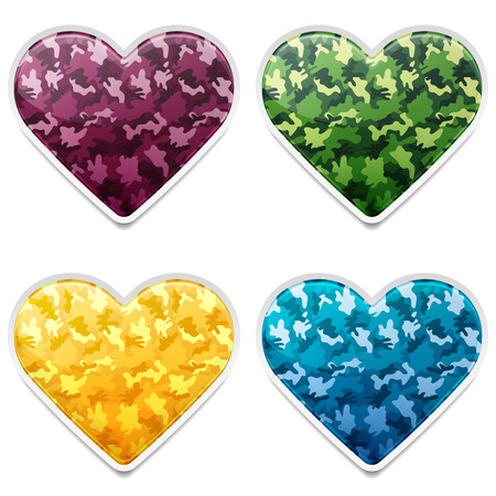 Set of Colorful Camouflage Army Hearts Vector