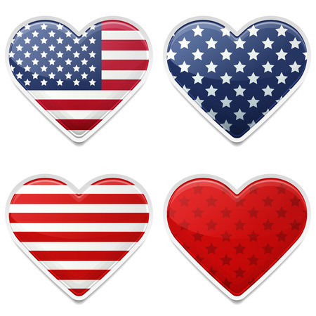 American Hearts Badges for Independence Day