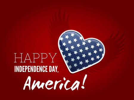 American Independence Day Sign with Heart Shaped Flag Illustration