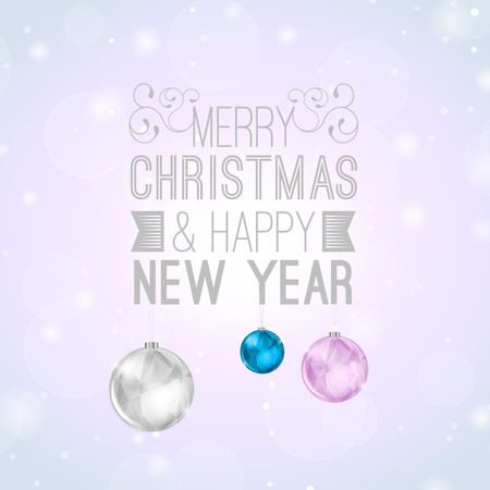 Christmas Background with Lettering and Shiny Balls