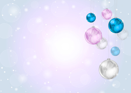 Light Christmas Background with Bokeh Snow and Shiny Balls