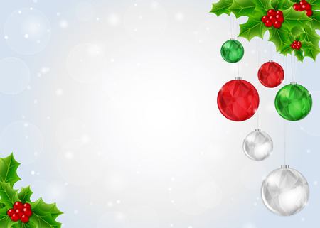 Christmas Background with Holly Berry and Shiny Balls