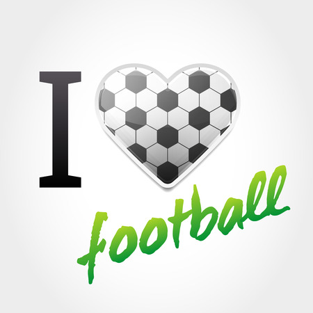 Football love background with Ball Pattern Heart