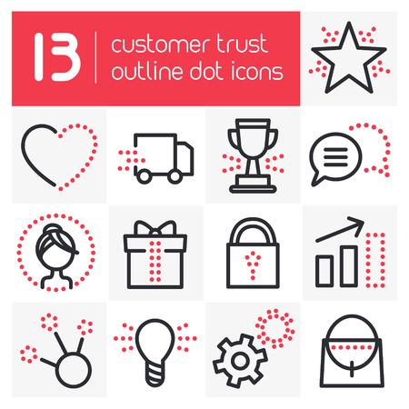 Customer Trust Outline Dot Icons