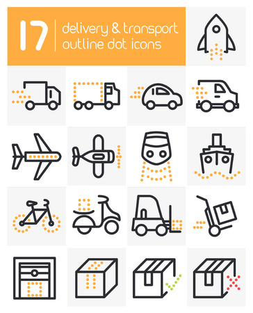 Delivery and Transport Line Dot Icons
