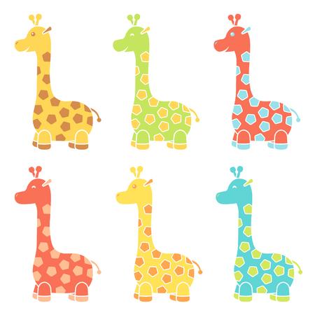 Set of happy giraffe icon in cartoon style Illustration