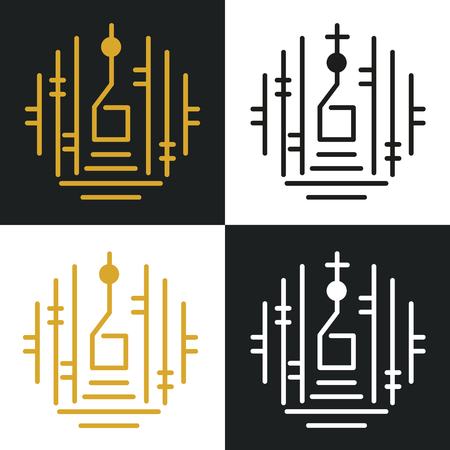 Unique Church or Tearoom Logo Icon with Simple Lines Illustration