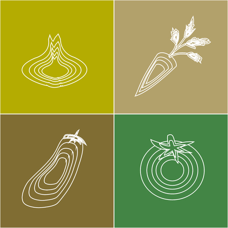 alimentation: icons of vegetables, made in a simple style Illustration