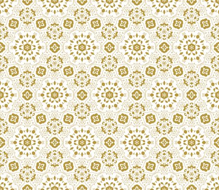 vector fabric: Lace vector fabric seamless  pattern with flowers. Gold on white