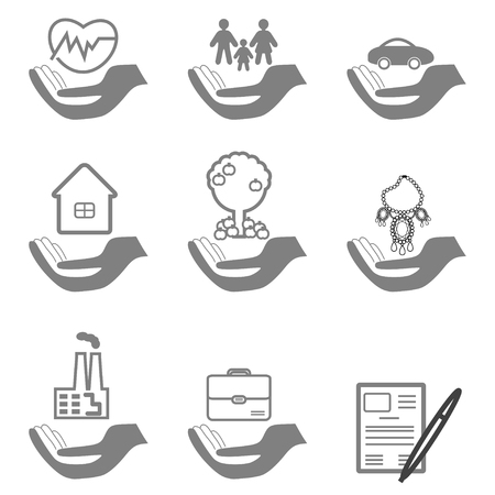 family policy: Vector insurance icons set