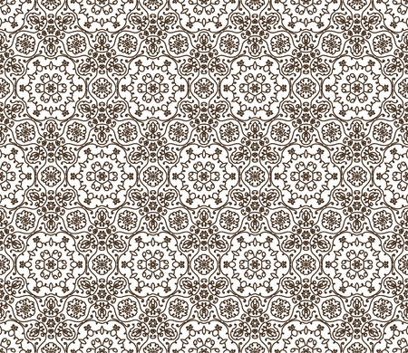 lace vector: Lace vector fabric seamless  pattern with flowers. Brown on white Illustration