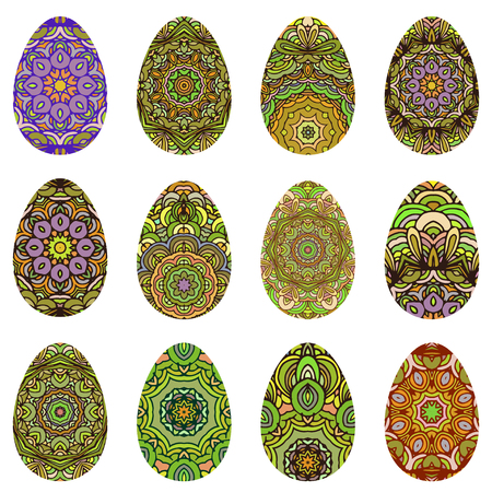 canvass: Easter egg design set decorated in orient style. Vector EPS10 Illustration